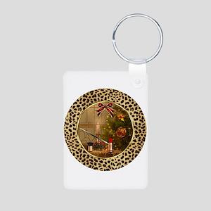 Makeup Cheetah Christmas Silver Keychains