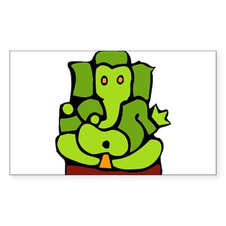 Green Ganesha Sticker (Rectangle)