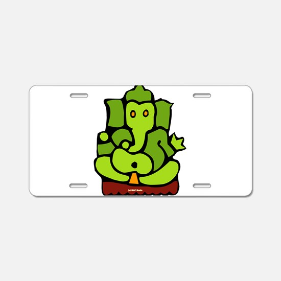 Green Ganesha Aluminum License Plate
