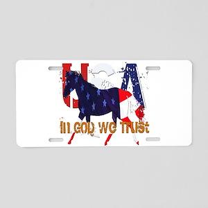 Patriotic Horse Aluminum License Plate