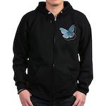 Blue Moth Zip Hoodie (dark)