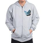 Blue Moth Zip Hoodie