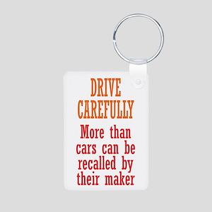Drive Carefully Aluminum Photo Keychain