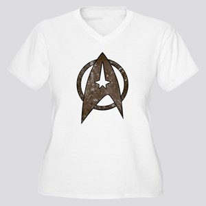 Vintage Starfleet Badge Women's Plus Size V-Neck T