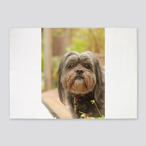 Kona the dark lhasa type mixed bree 5'x7'Area Rug