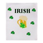 Irish Beer Shamrocks Throw Blanket