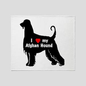 Afghan hound silhouette Throw Blanket