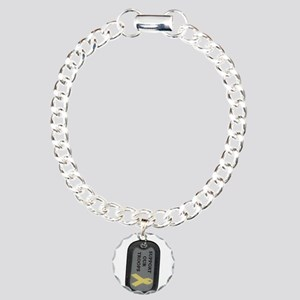 Military Support Dog Tags Charm Bracelet, One Char