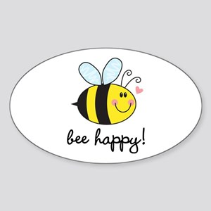 Bee Happy Sticker (Oval)