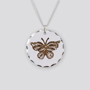 Gold Butterfly Necklace Circle Charm