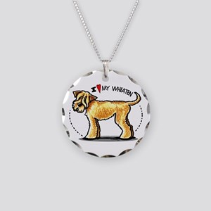 Wheaten Terrier Lover Necklace Circle Charm