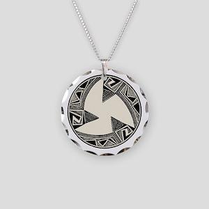 Pueblo pottery engraving Necklace Circle Charm