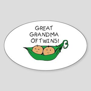 Great Grandma Twins Pod Oval Sticker