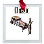 Classic car design and art deco girl Square Glass