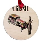 Classic car design and art deco girl Maple Round O