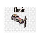 Classic car design and art deco girl Small Puzzle