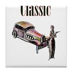 Classic car design and art deco girl Tile Coaster