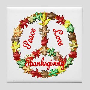 Thanksgiving Peace Sign Tile Coaster