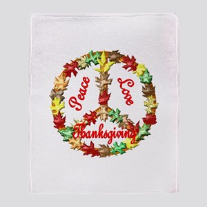 Thanksgiving Peace Sign Throw Blanket