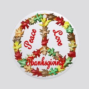 Thanksgiving Peace Sign Ornament (Round)