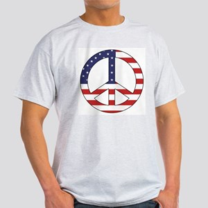 Peace Sign (American Flag) Ash Grey T-Shirt