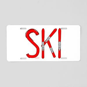Ski Skis Aluminum License Plate