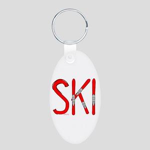 Ski Skis Aluminum Oval Keychain