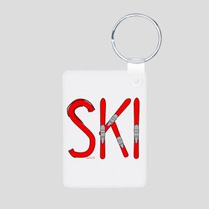 Ski Skis Aluminum Photo Keychain