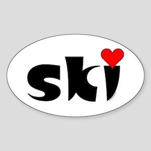 Ski Small Heart Sticker (Oval)