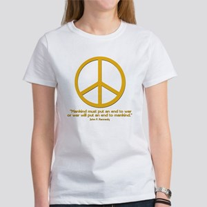 JFK Quote w Orange Peace Sign Women's T-Shirt