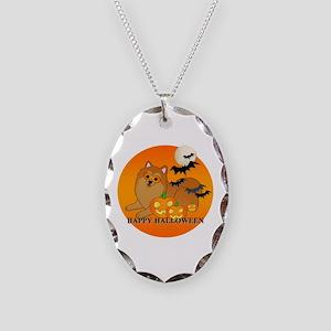 Pomeranian Necklace Oval Charm