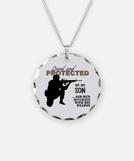 Funny Army Necklace Circle Charm