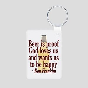 Beer is Proof Aluminum Photo Keychain