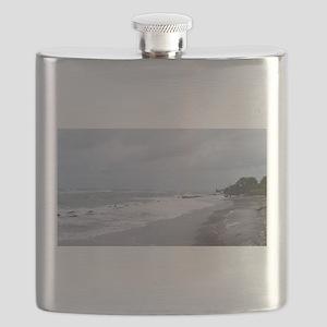 Stormy Beach Coastline Flask
