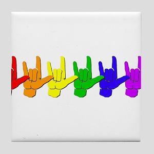 I love you - colorful Tile Coaster