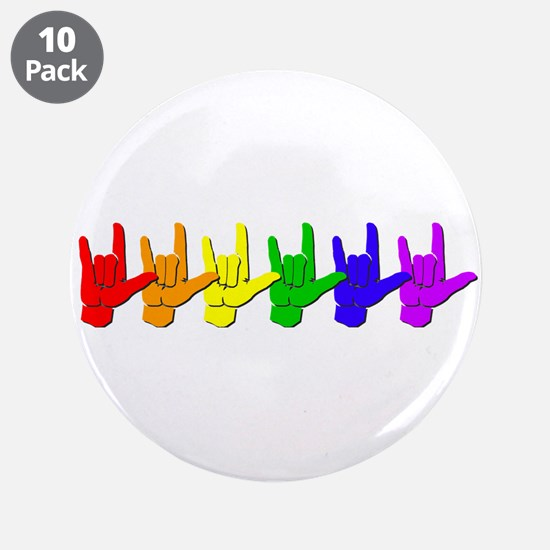 """I love you - colorful 3.5"""" Button (10 pack)"""