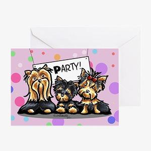 Yorkie Party Happy Birthday Greeting Card