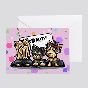 Yorkie Party Happy Birthday Greeting Card