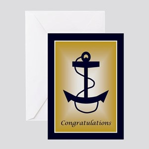 Blue &Amp; Gold Anchor Congratula Greeting Card