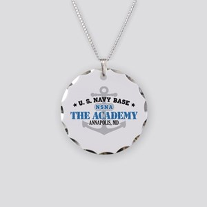 US Navy Academy Base Necklace Circle Charm