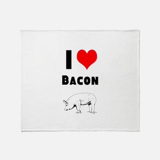Cute I heart bacon Throw Blanket