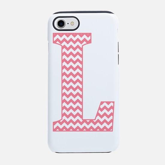 Pink Chevron Letter L Monogram iPhone 7 Tough Case