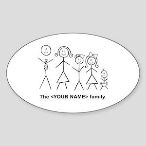 Custom family of 5 Sticker (Oval)