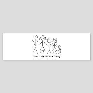 Custom family of 5 Sticker (Bumper)