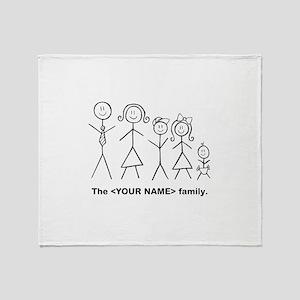 Custom family of 5 Throw Blanket