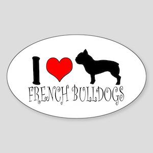 I Heart/Love French Bulldogs Sticker (Oval)