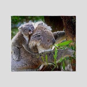 Baby Koala Bear with mom Throw Blanket
