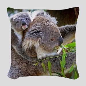 Baby Koala Bear with mom Woven Throw Pillow