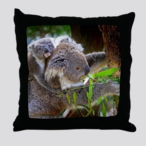 Baby Koala Bear with mom Throw Pillow