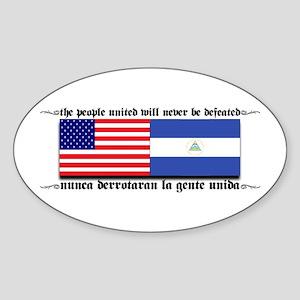 USA - Nicaragua Unite!!! Oval Sticker